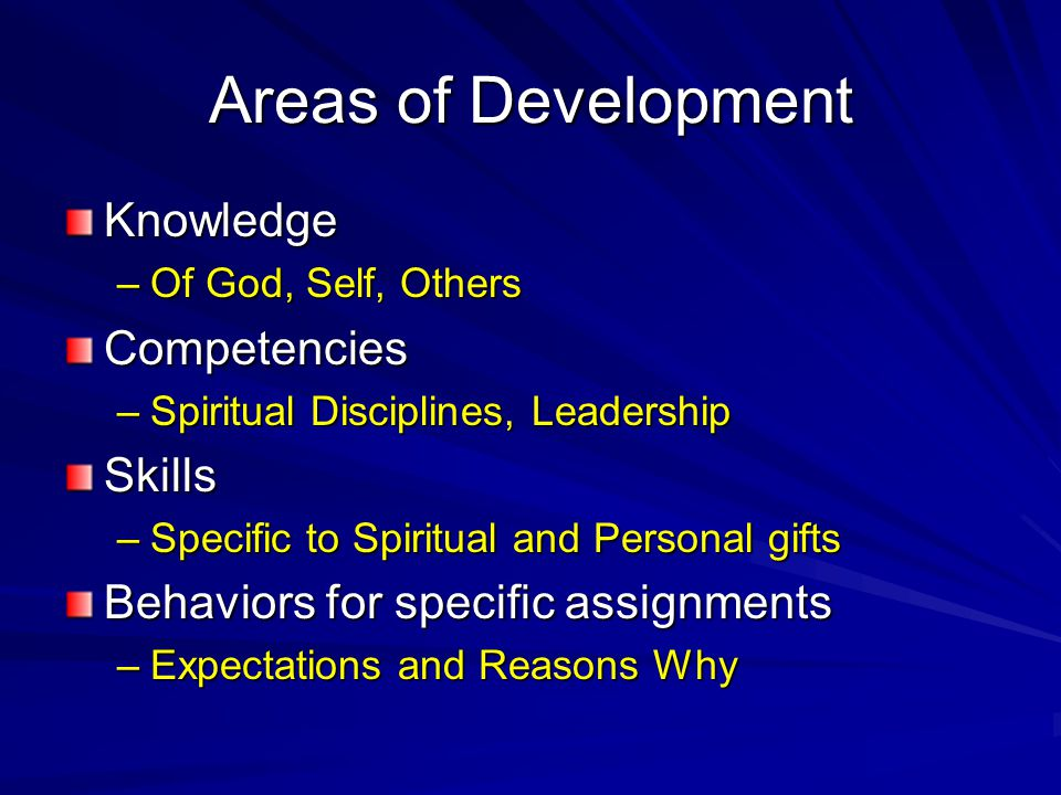Areas of Development Knowledge Competencies Skills