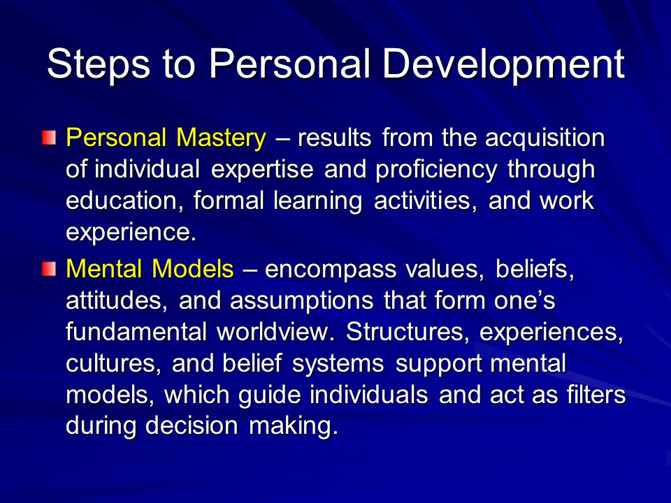 Steps to Personal Development