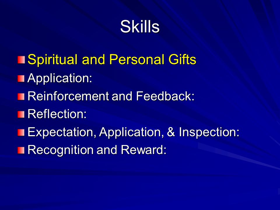 Skills Spiritual and Personal Gifts Application: