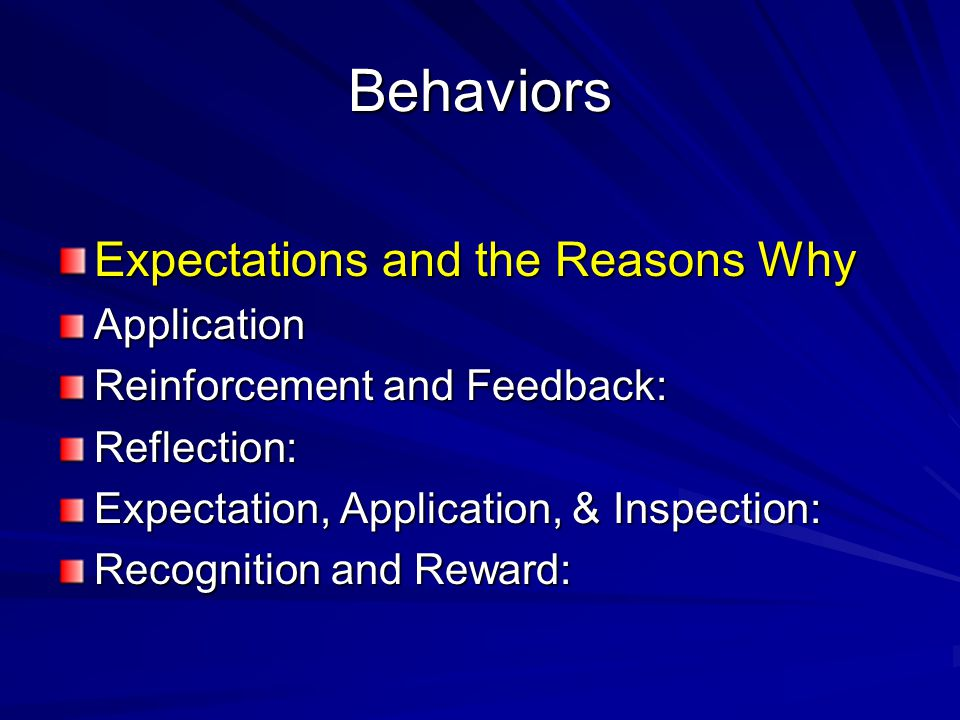 Behaviors Expectations and the Reasons Why Application