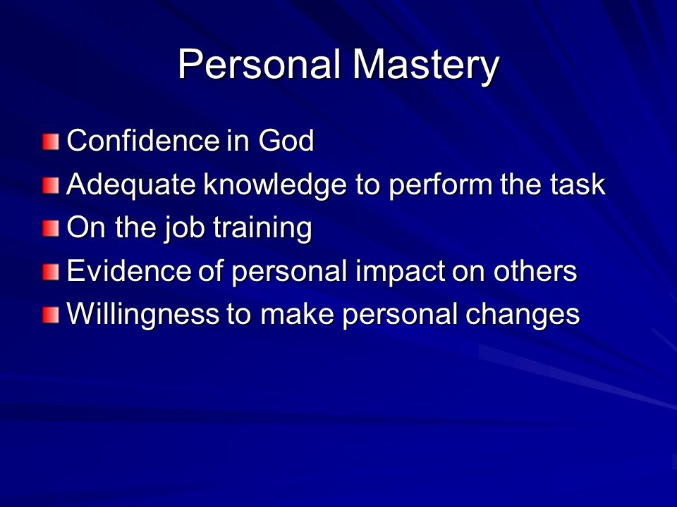 Personal Mastery Confidence in God