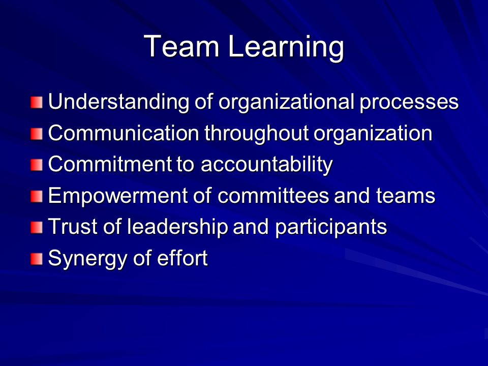 Team Learning Understanding of organizational processes