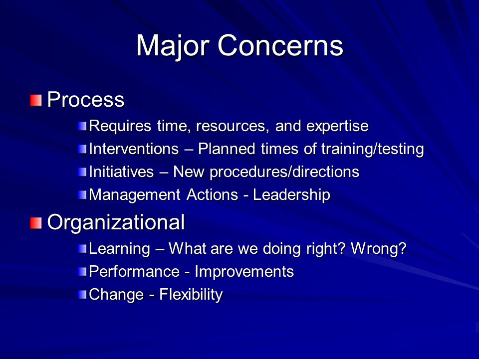 Major Concerns Process Organizational