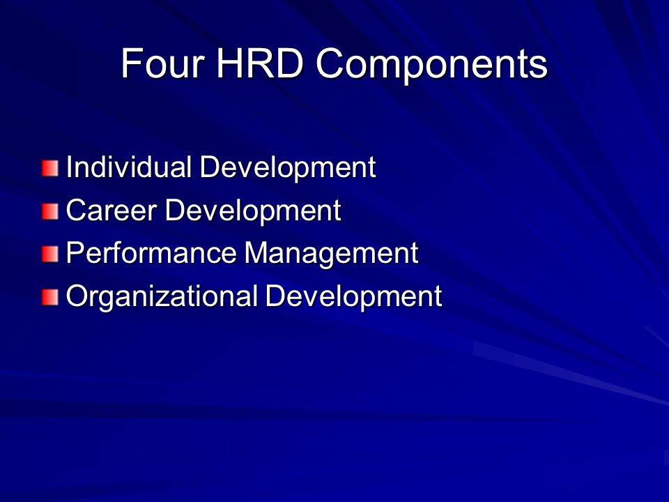 Four HRD Components Individual Development Career Development