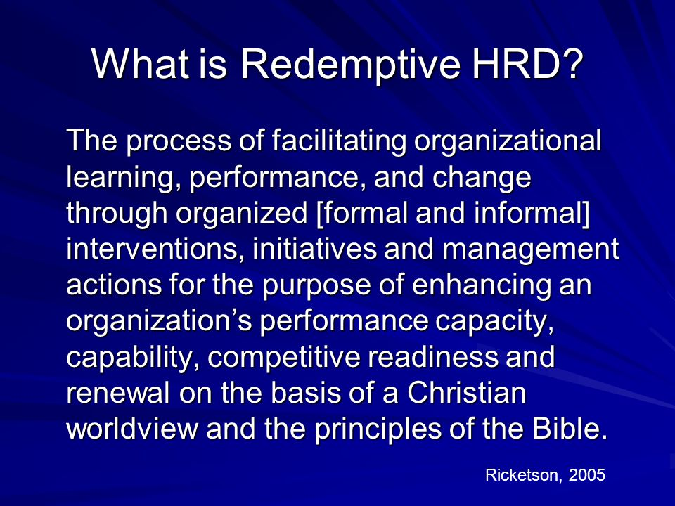 What is Redemptive HRD