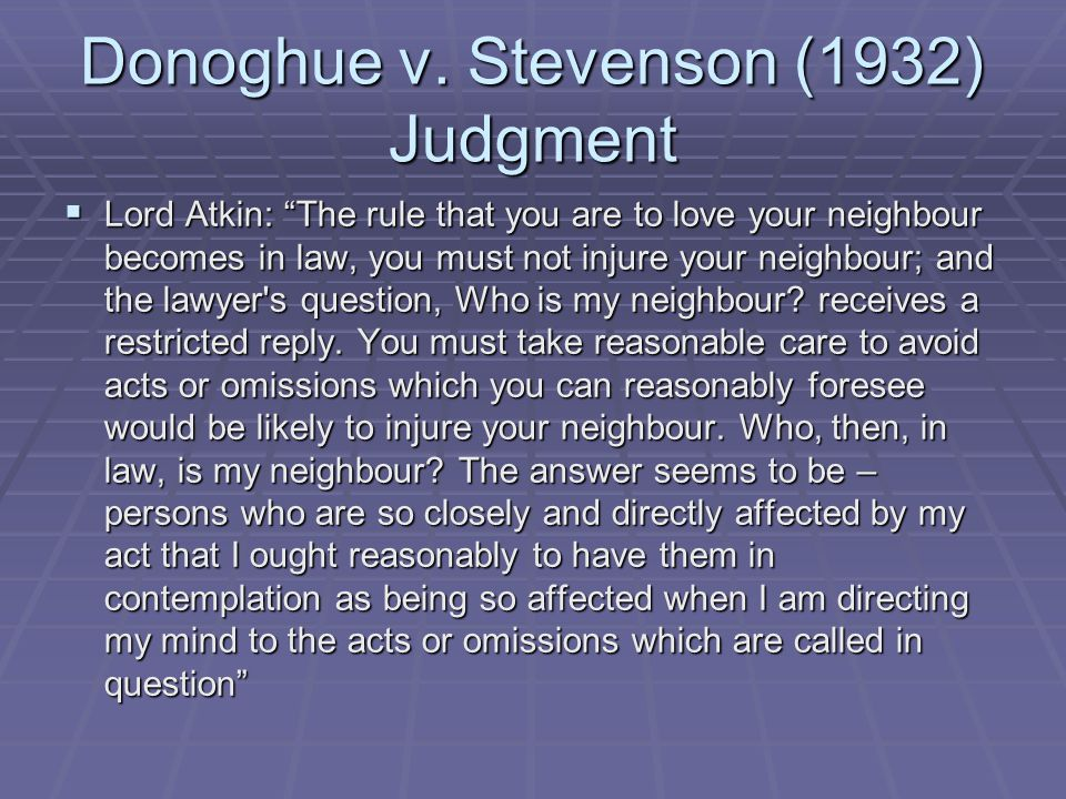 Donoghue v. Stevenson (1932) Judgment