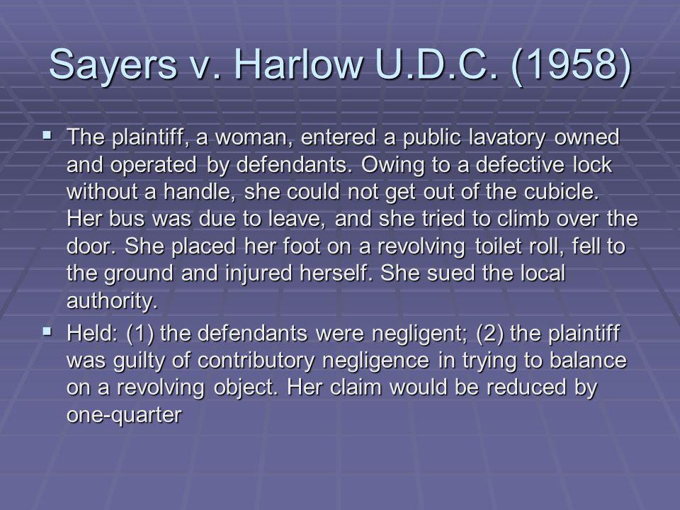Sayers v. Harlow U.D.C. (1958)