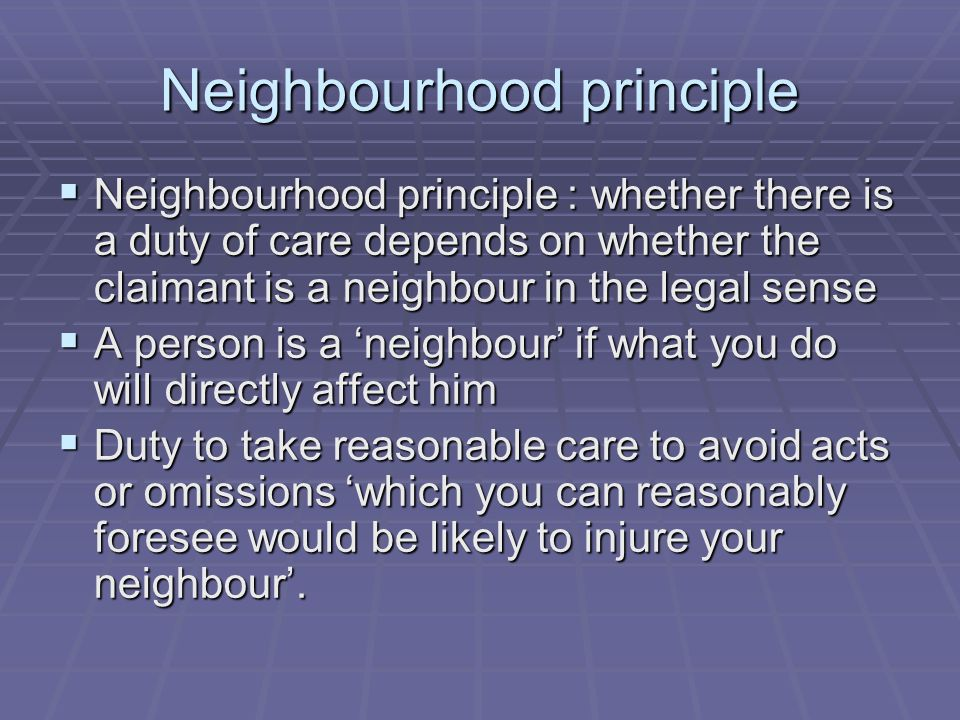 Neighbourhood principle
