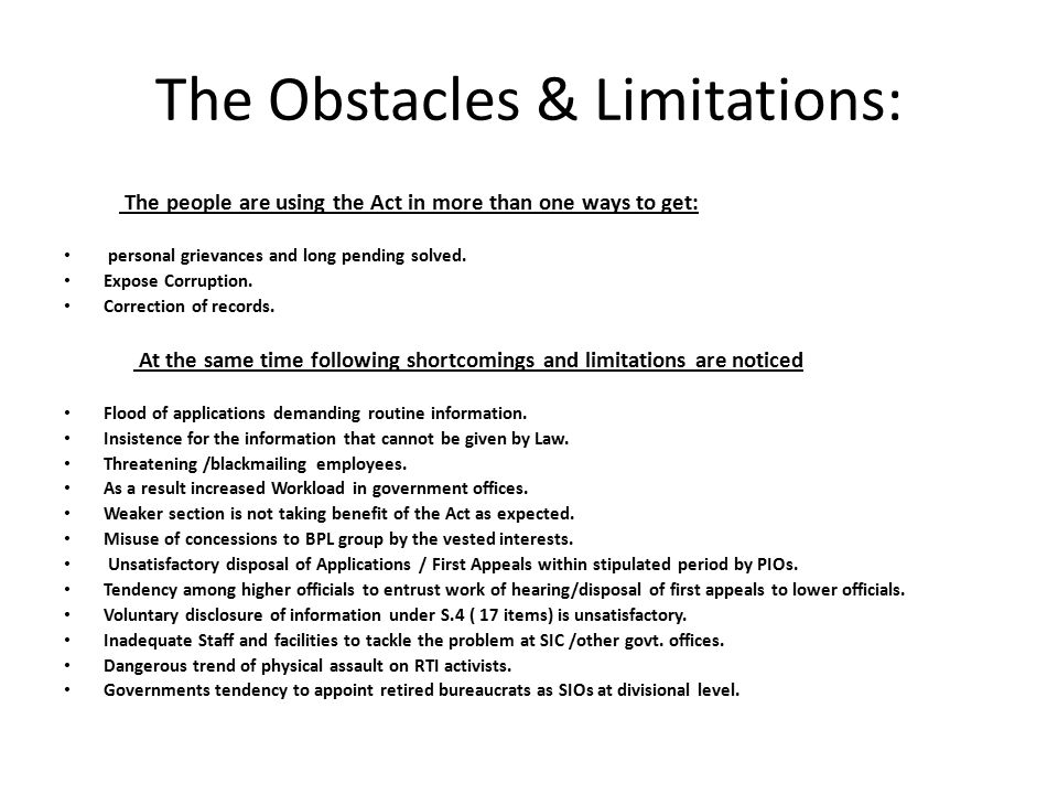The Obstacles & Limitations: