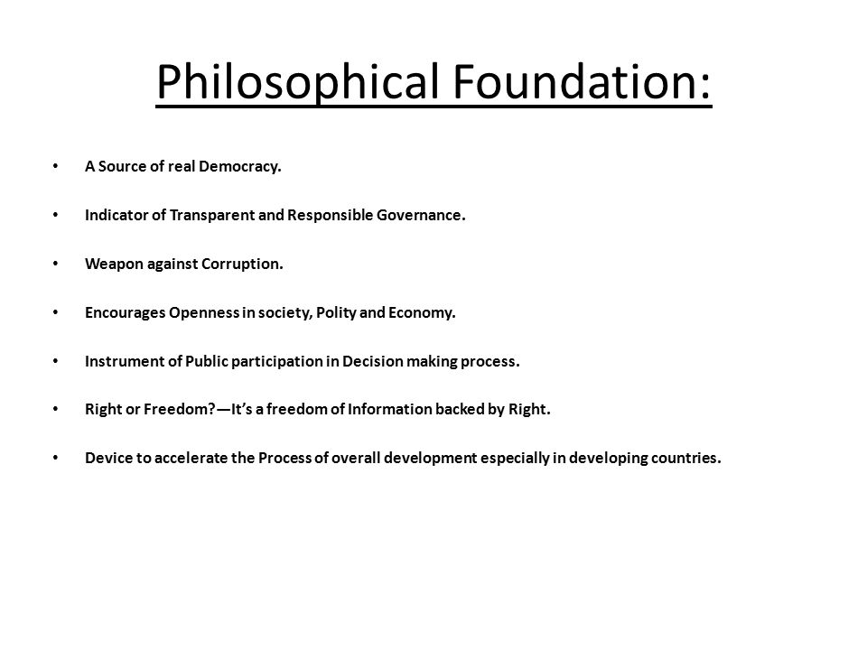 Philosophical Foundation: