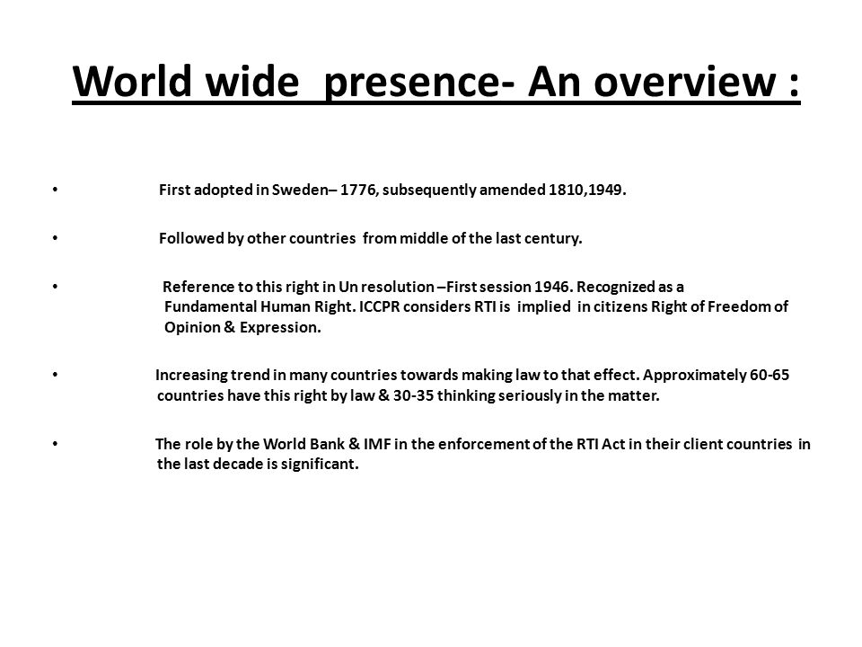 World wide presence- An overview :