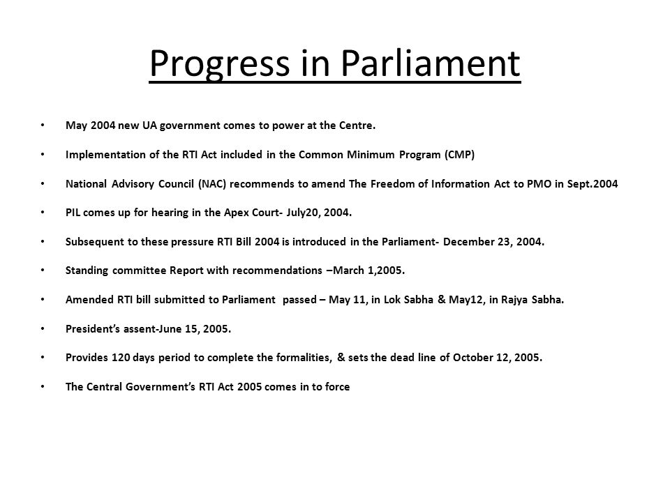 Progress in Parliament