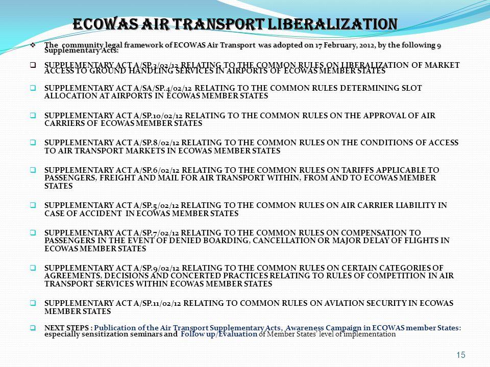 ECOWAS AIR TRANSPORT LIBERALIZATION