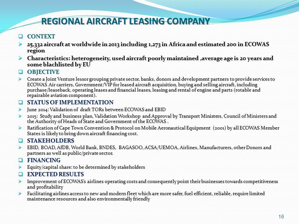 REGIONAL AIRCRAFT LEASING COMPANY