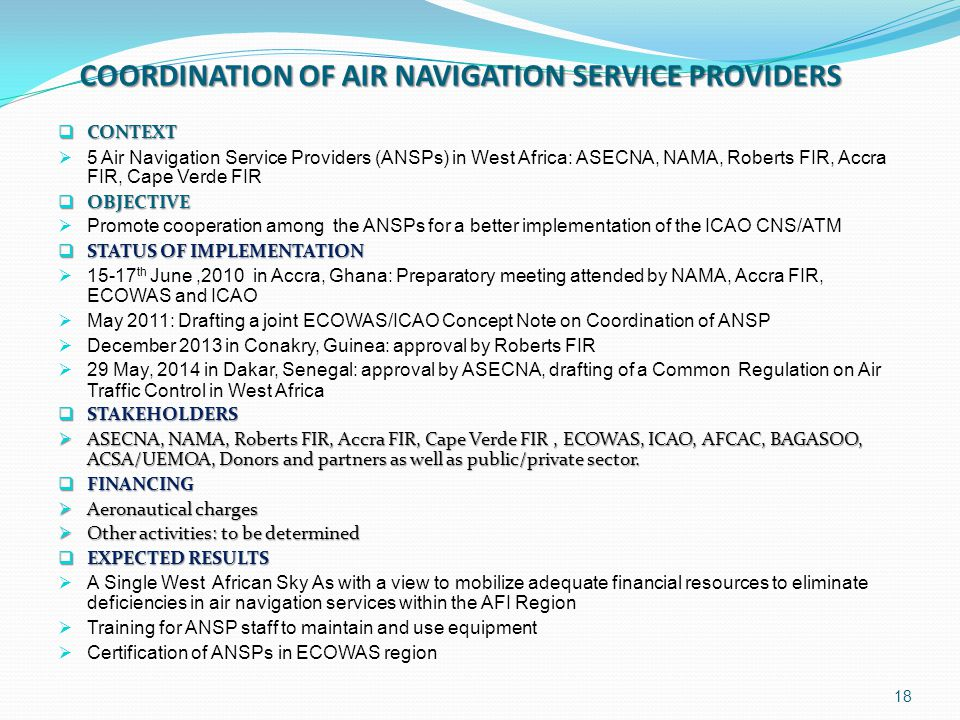 COORDINATION OF AIR NAVIGATION SERVICE PROVIDERS