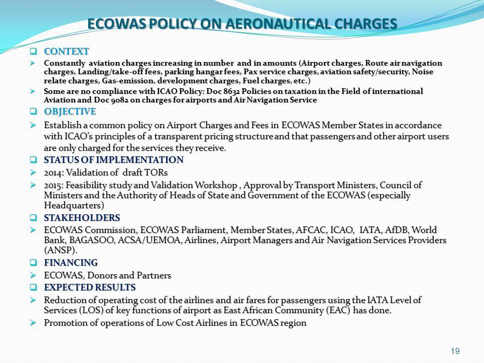 ECOWAS POLICY ON AERONAUTICAL CHARGES