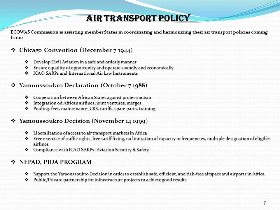 AIR TRANSPORT POLICY Chicago Convention (December 7 1944)