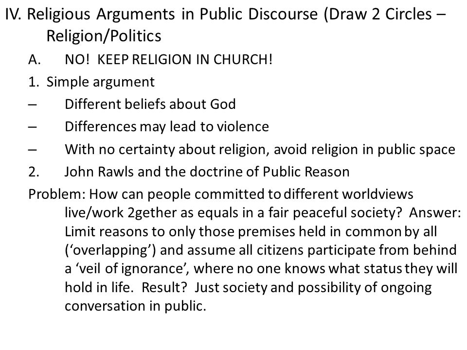 IV. Religious Arguments in Public Discourse (Draw 2 Circles – Religion/Politics