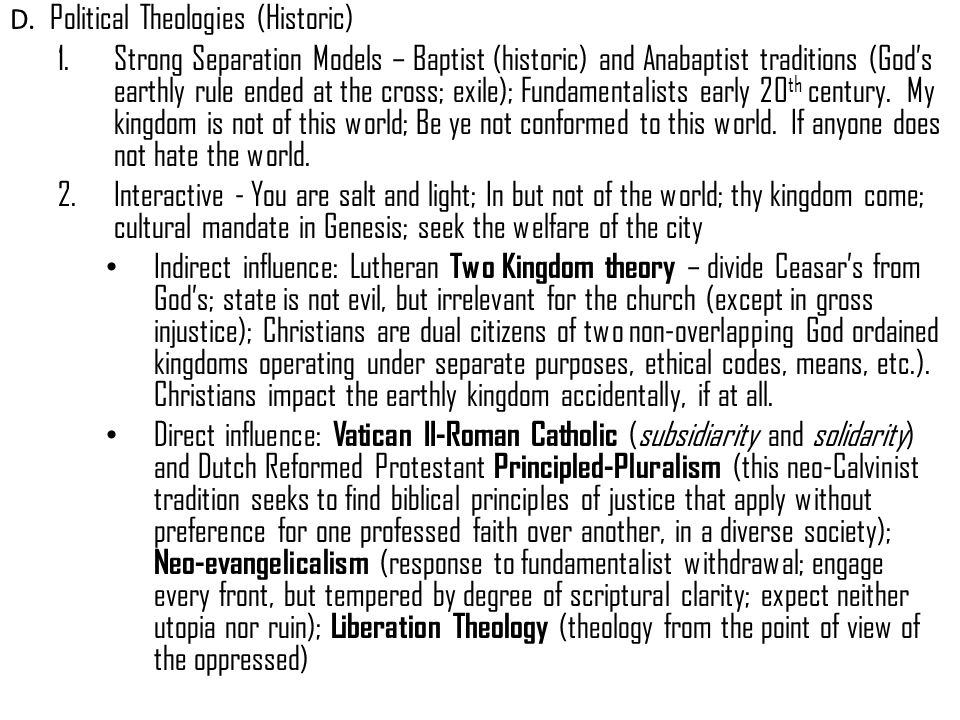 D. Political Theologies (Historic)