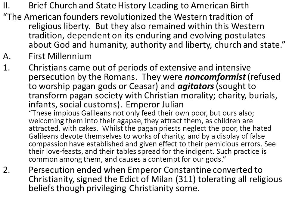Brief Church and State History Leading to American Birth