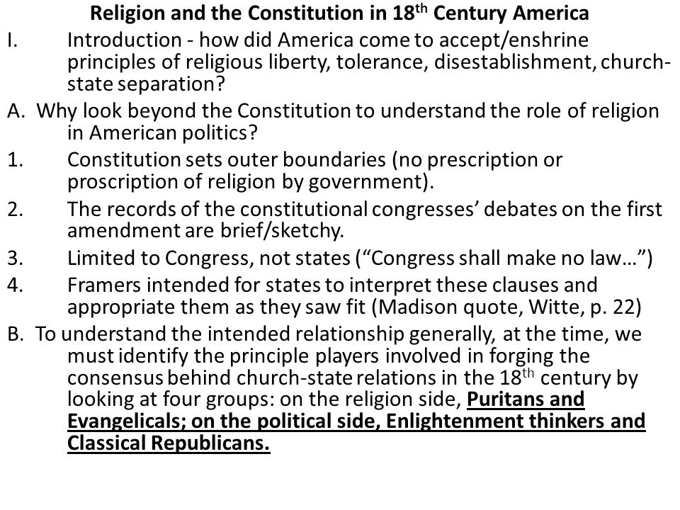 Religion and the Constitution in 18th Century America