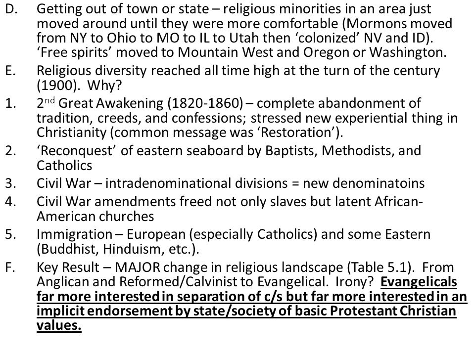 Getting out of town or state – religious minorities in an area just moved around until they were more comfortable (Mormons moved from NY to Ohio to MO to IL to Utah then 'colonized' NV and ID). 'Free spirits' moved to Mountain West and Oregon or Washington.