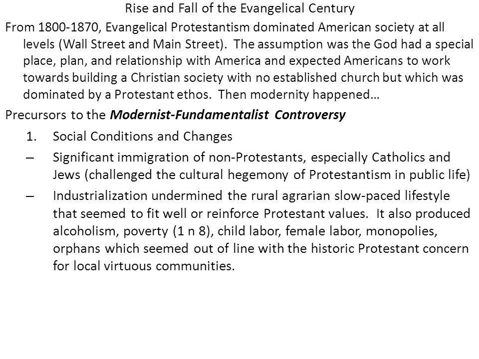 Rise and Fall of the Evangelical Century