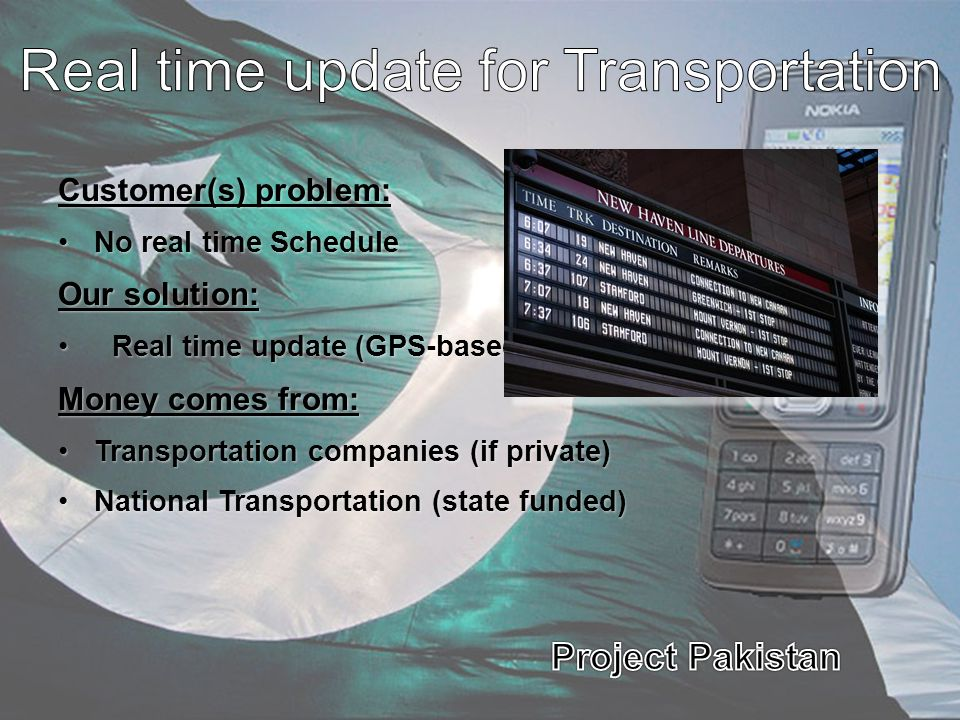 Real time update for Transportation