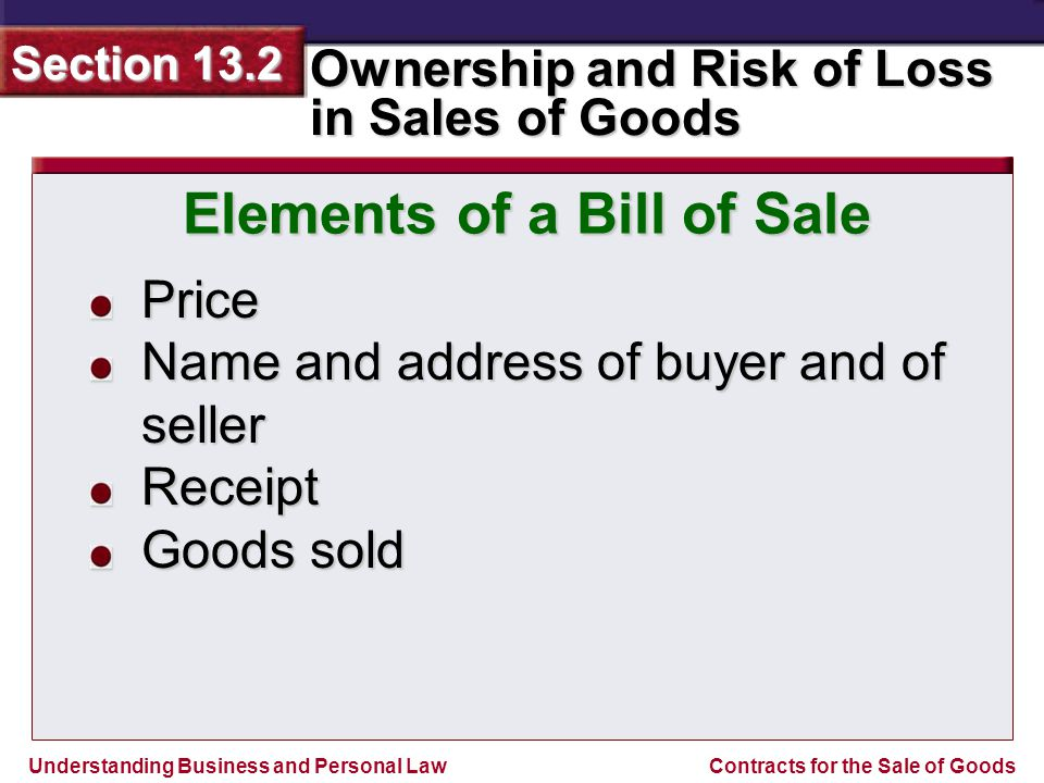 Elements of a Bill of Sale