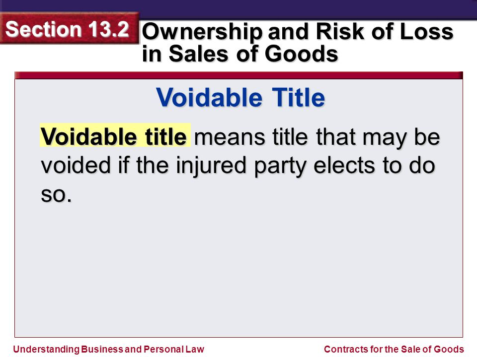 Voidable Title Voidable title means title that may be voided if the injured party elects to do so.