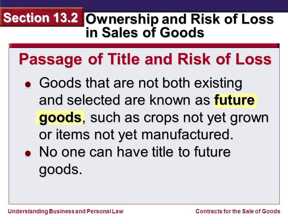 Passage of Title and Risk of Loss