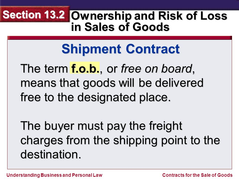 Shipment Contract The term f.o.b., or free on board, means that goods will be delivered free to the designated place.