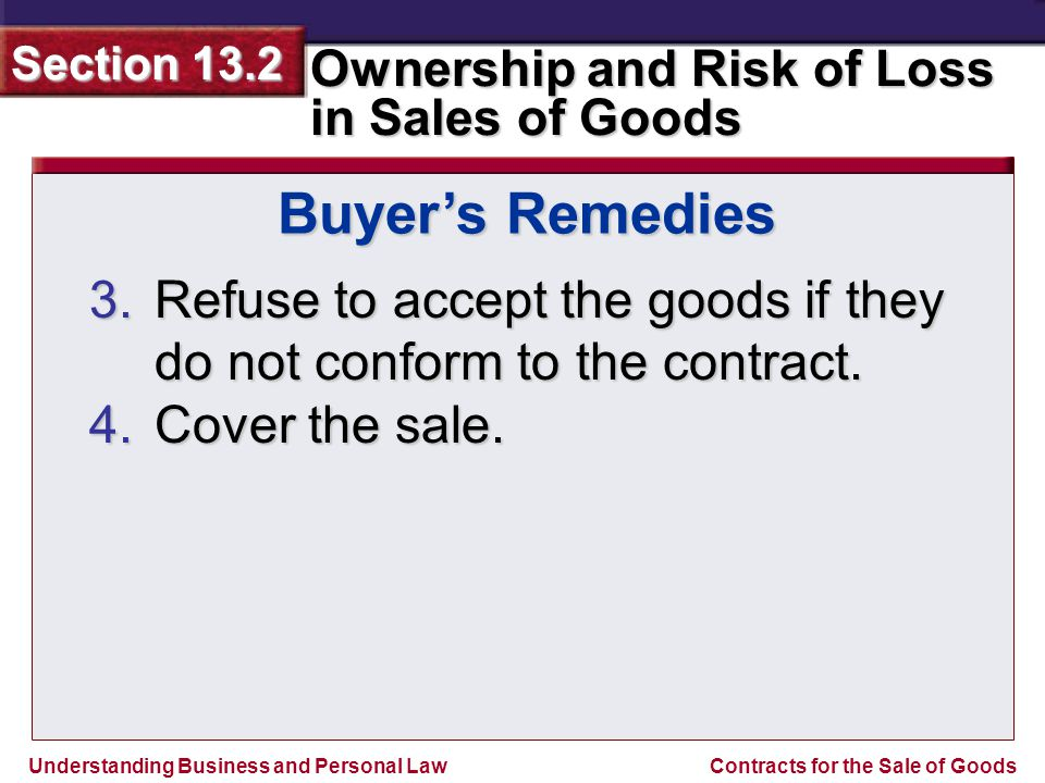 Buyer's Remedies Refuse to accept the goods if they do not conform to the contract. Cover the sale.