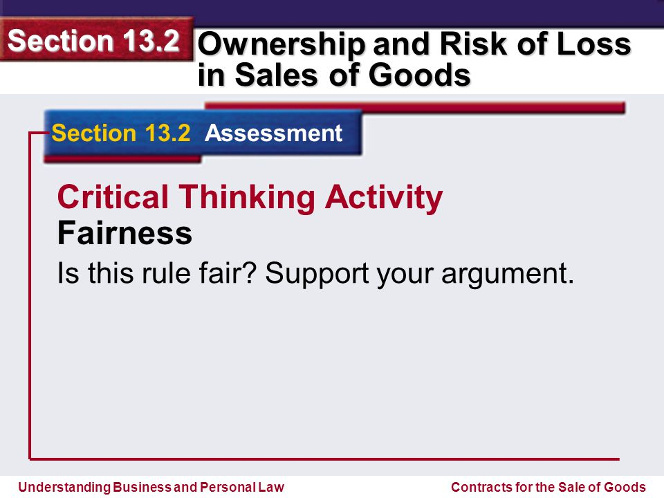 Critical Thinking Activity Fairness