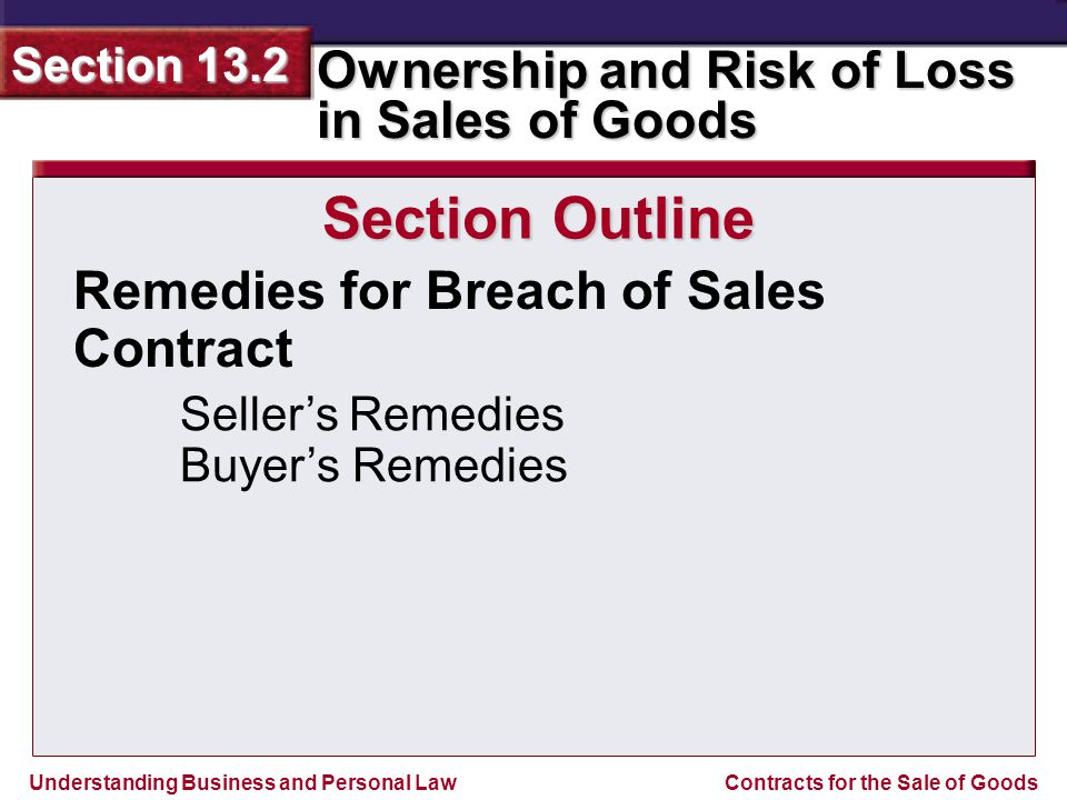 Section Outline Remedies for Breach of Sales Contract