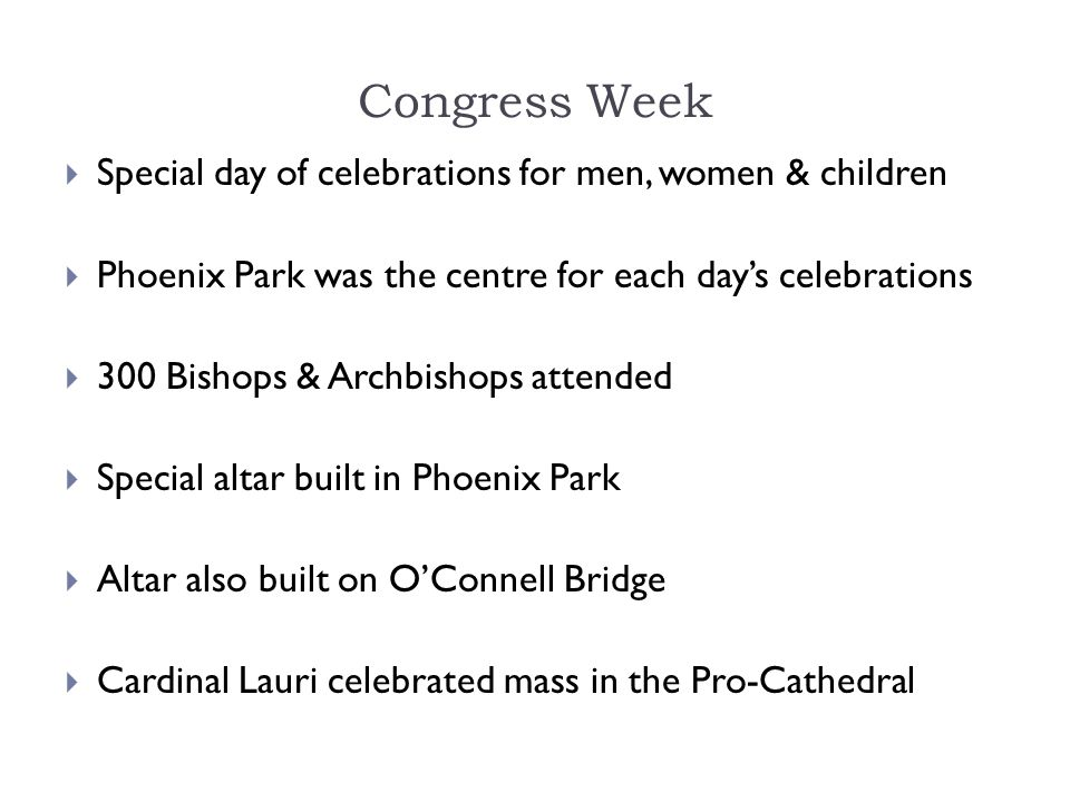 Congress Week Special day of celebrations for men, women & children