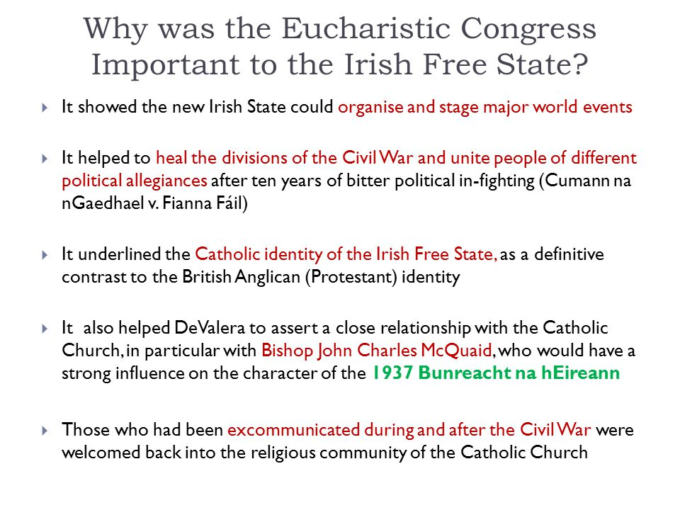 Why was the Eucharistic Congress Important to the Irish Free State