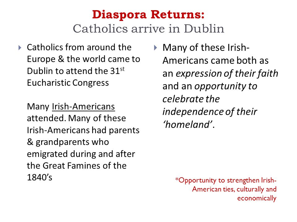 Diaspora Returns: Catholics arrive in Dublin