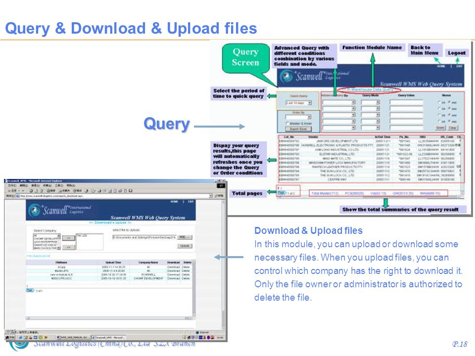 Query & Download & Upload files