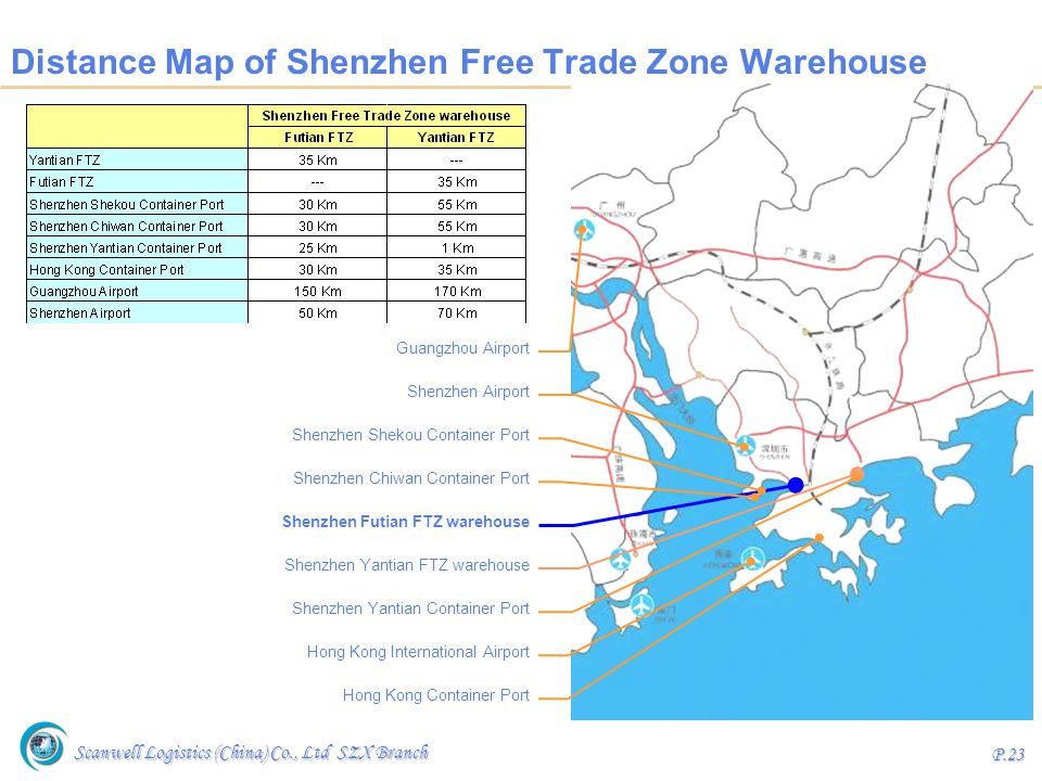 Distance Map of Shenzhen Free Trade Zone Warehouse