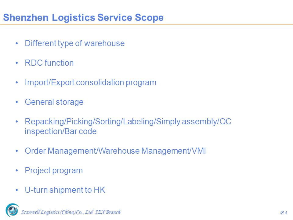 Shenzhen Logistics Service Scope