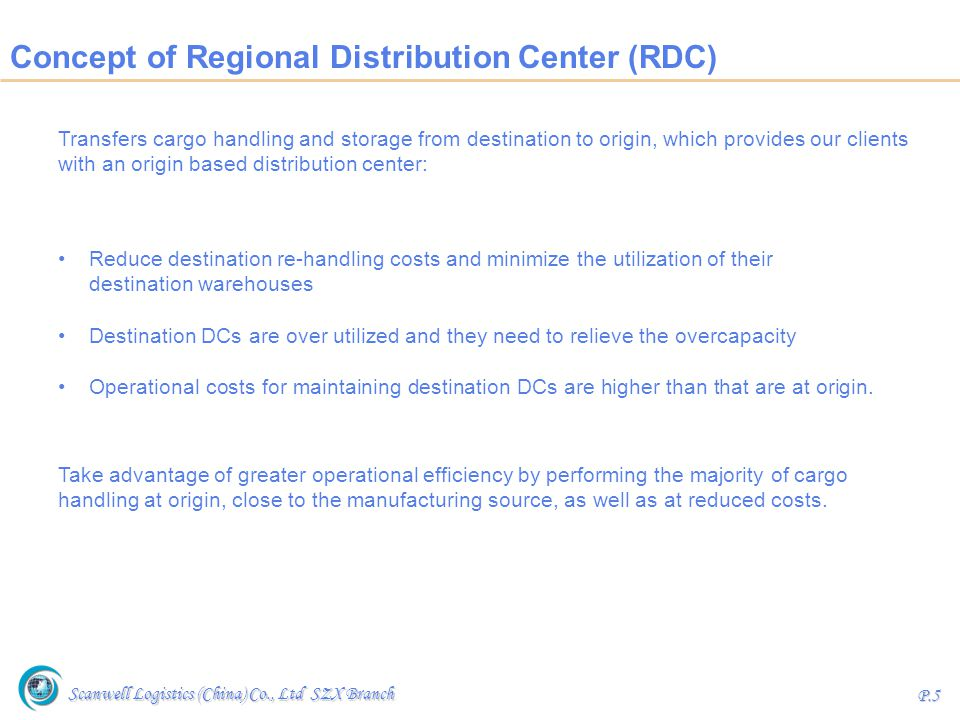 Concept of Regional Distribution Center (RDC)