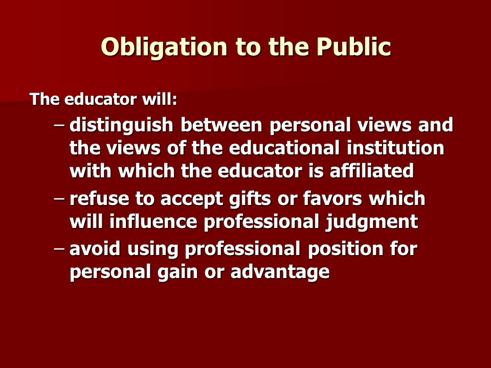 Obligation to the Public