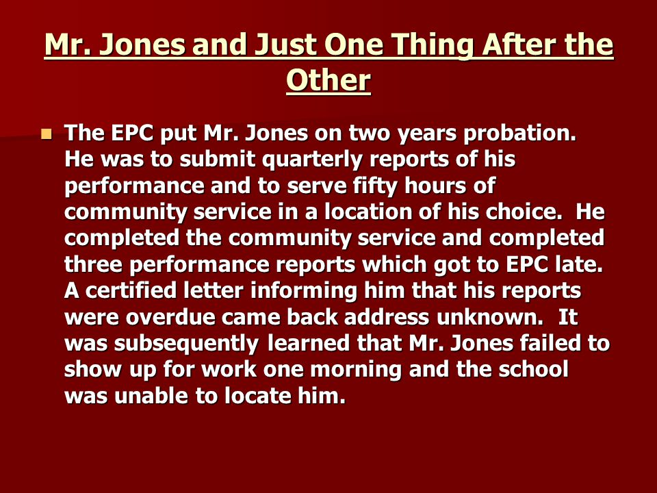 Mr. Jones and Just One Thing After the Other