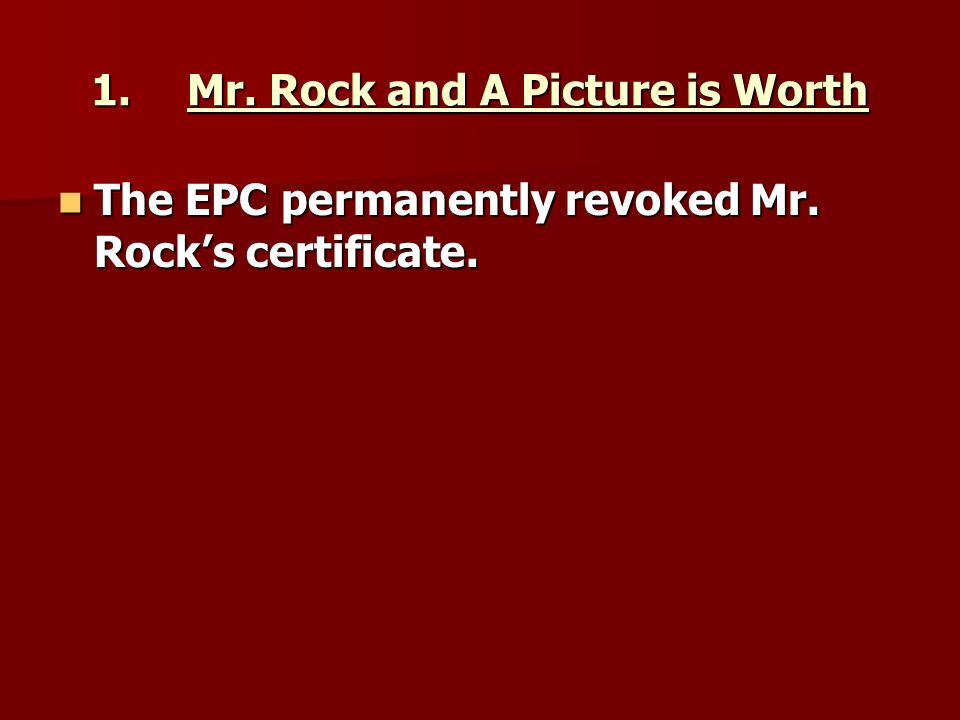 1. Mr. Rock and A Picture is Worth
