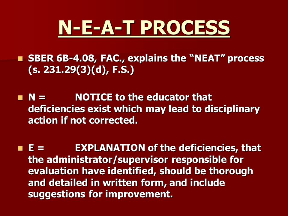 N-E-A-T PROCESS SBER 6B-4.08, FAC., explains the NEAT process (s. 231.29(3)(d), F.S.)