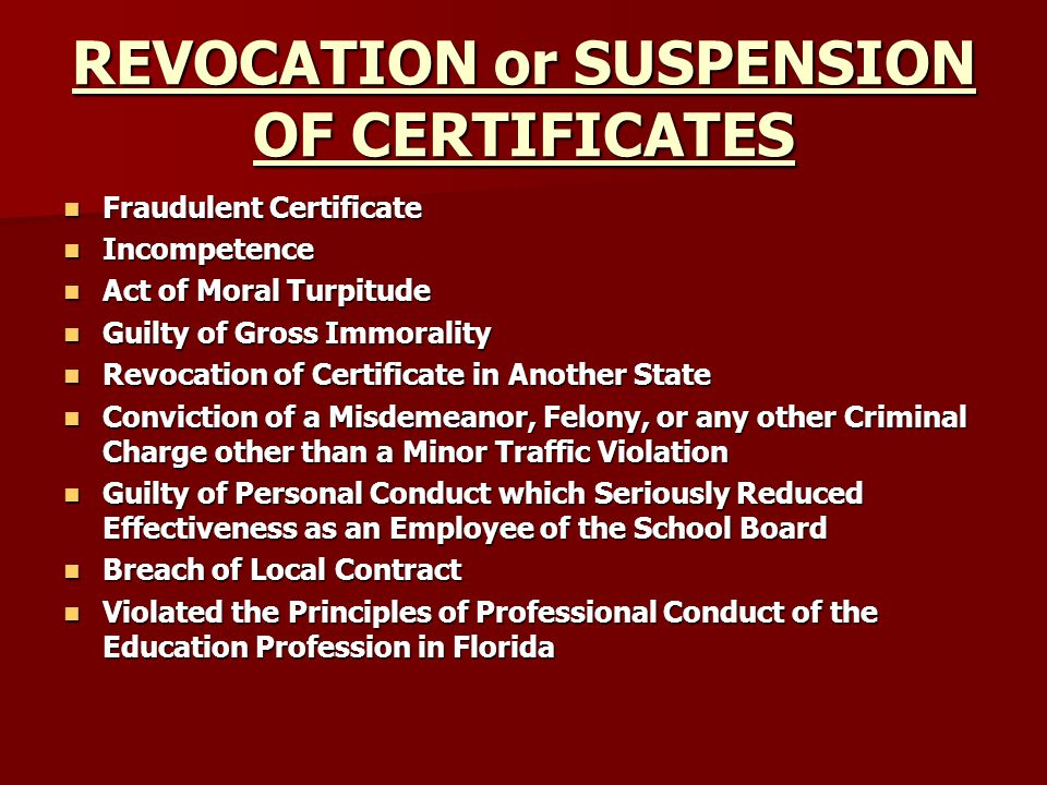 REVOCATION or SUSPENSION OF CERTIFICATES