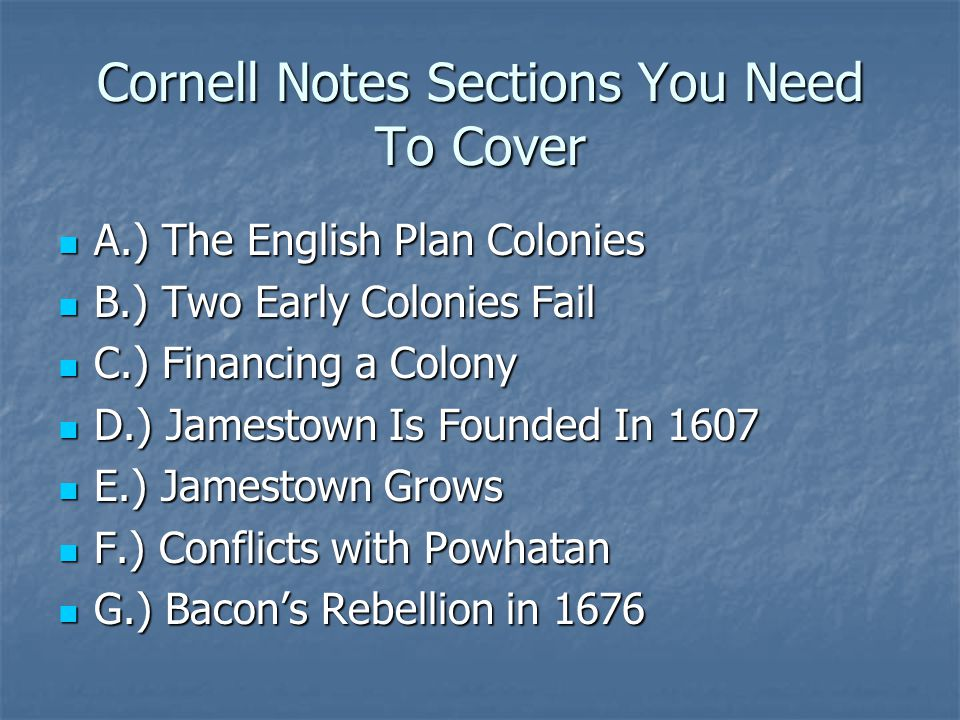 Cornell Notes Sections You Need To Cover