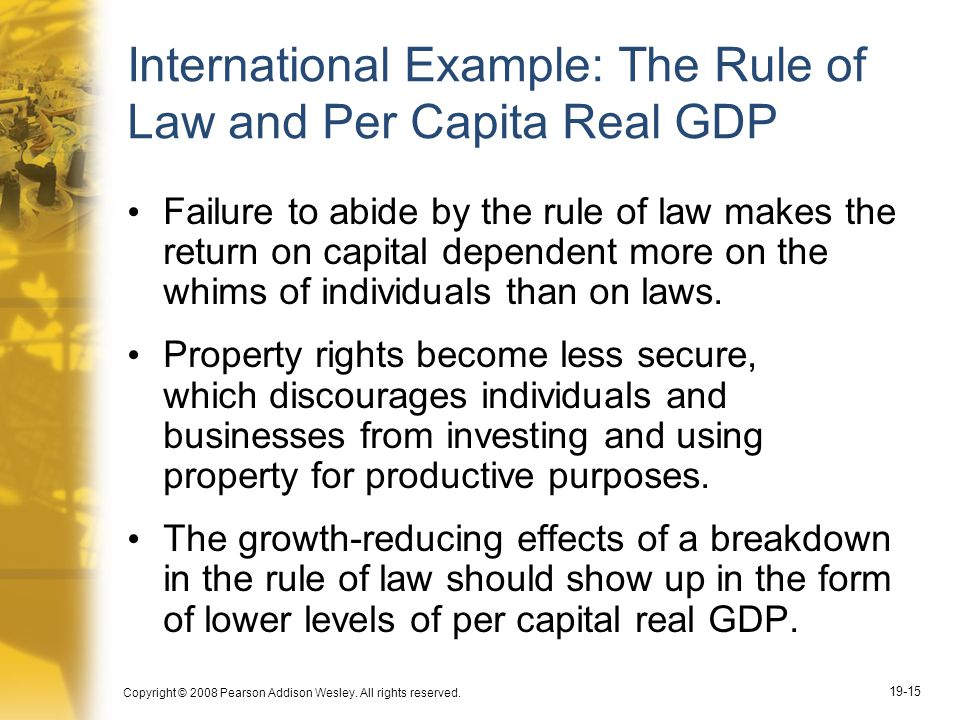 International Example: The Rule of Law and Per Capita Real GDP