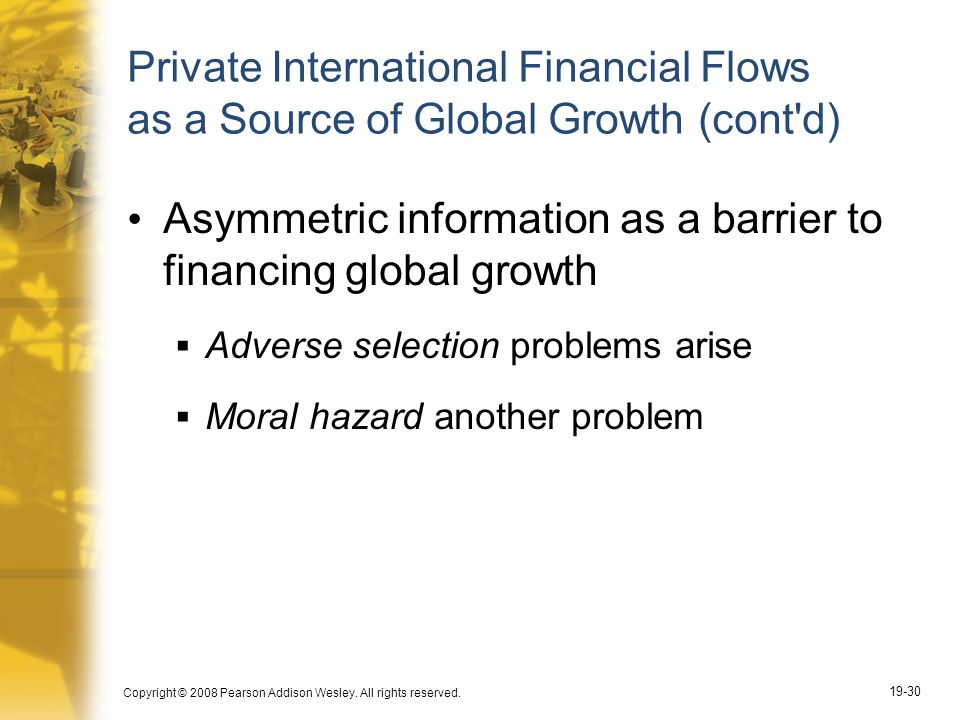 Asymmetric information as a barrier to financing global growth